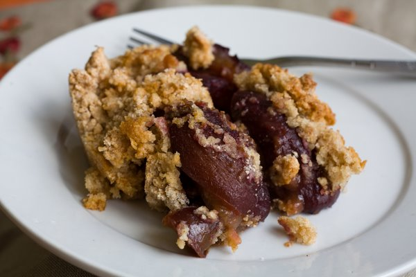Plum Crumble Upside Down Plum Cake
